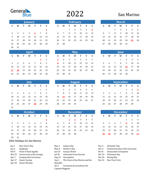 Image of 2022 Calendar - San Marino with Holidays