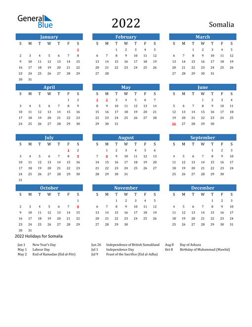 Image of 2022 Calendar - Somalia with Holidays