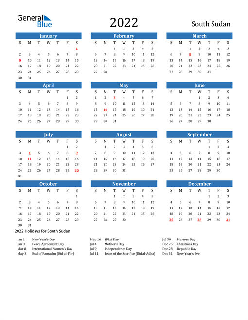 Image of 2022 Calendar - South Sudan with Holidays