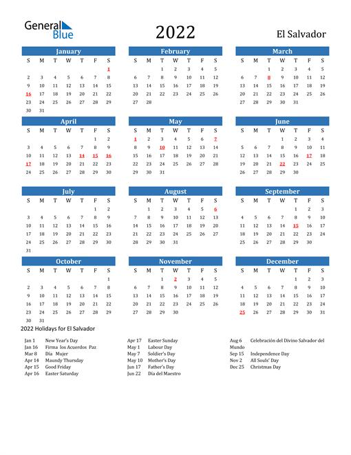 2022 Calendar with El Salvador Holidays
