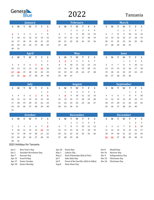 Image of 2022 Calendar - Tanzania with Holidays