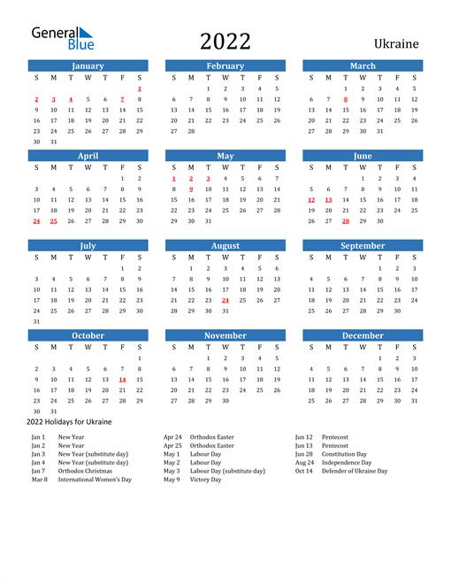 Image of 2022 Calendar - Ukraine with Holidays