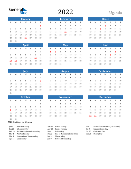 2022 Calendar with Uganda Holidays
