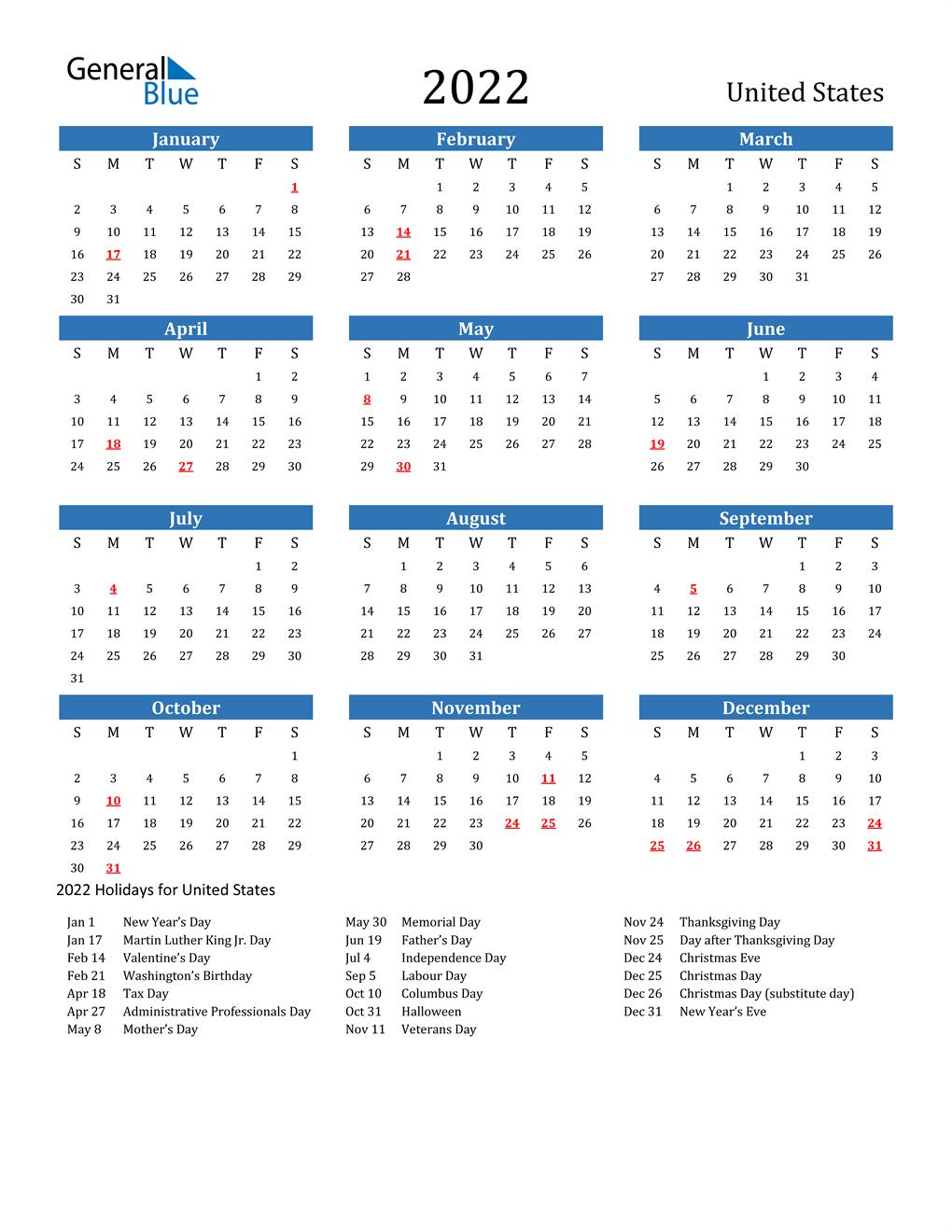 2022 Calendar Usa.2022 United States Calendar With Holidays