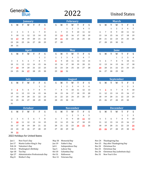 Image of 2022 Calendar - United States with Holidays