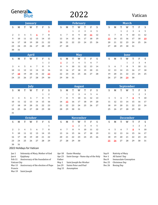 Image of 2022 Calendar - Vatican with Holidays