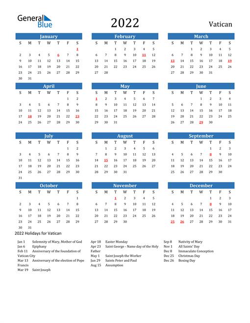 Vatican 2022 Calendar with Holidays