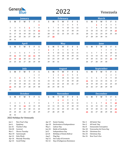 Image of 2022 Calendar - Venezuela with Holidays