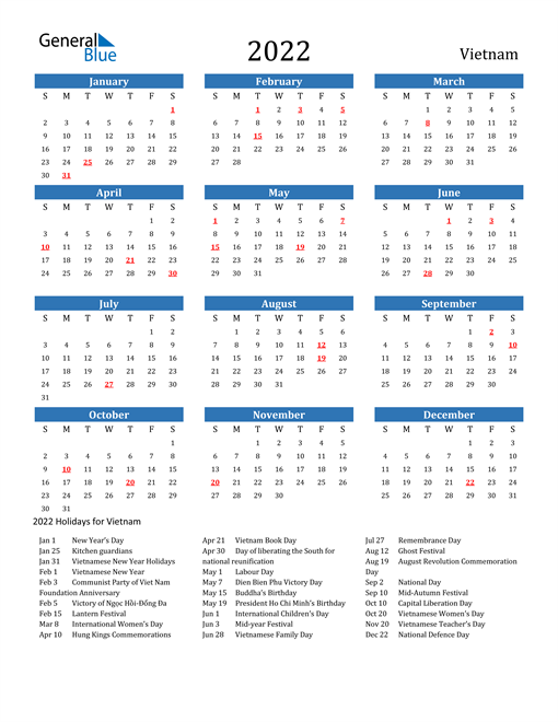 Image of 2022 Calendar - Vietnam with Holidays