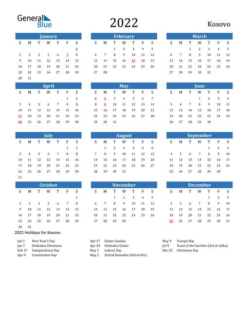Image of 2022 Calendar - Kosovo with Holidays