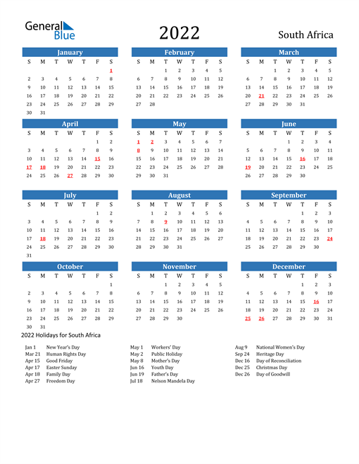 Image of 2022 Calendar - South Africa with Holidays