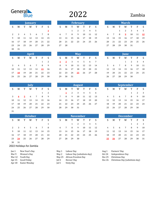 Image of 2022 Calendar - Zambia with Holidays