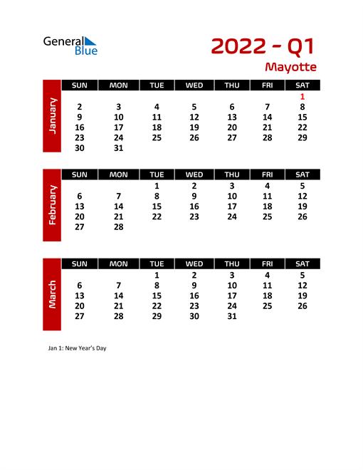 Q1 2022 Calendar with Holidays
