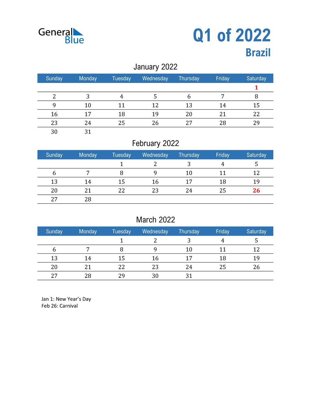 Brazil 2022 Quarterly Calendar