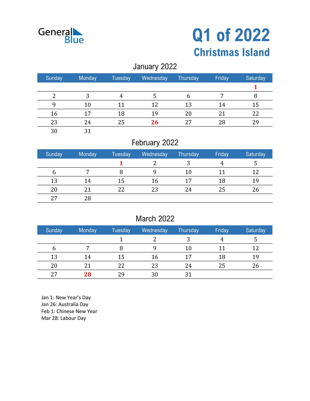 Christmas Island 2022 Quarterly Calendar