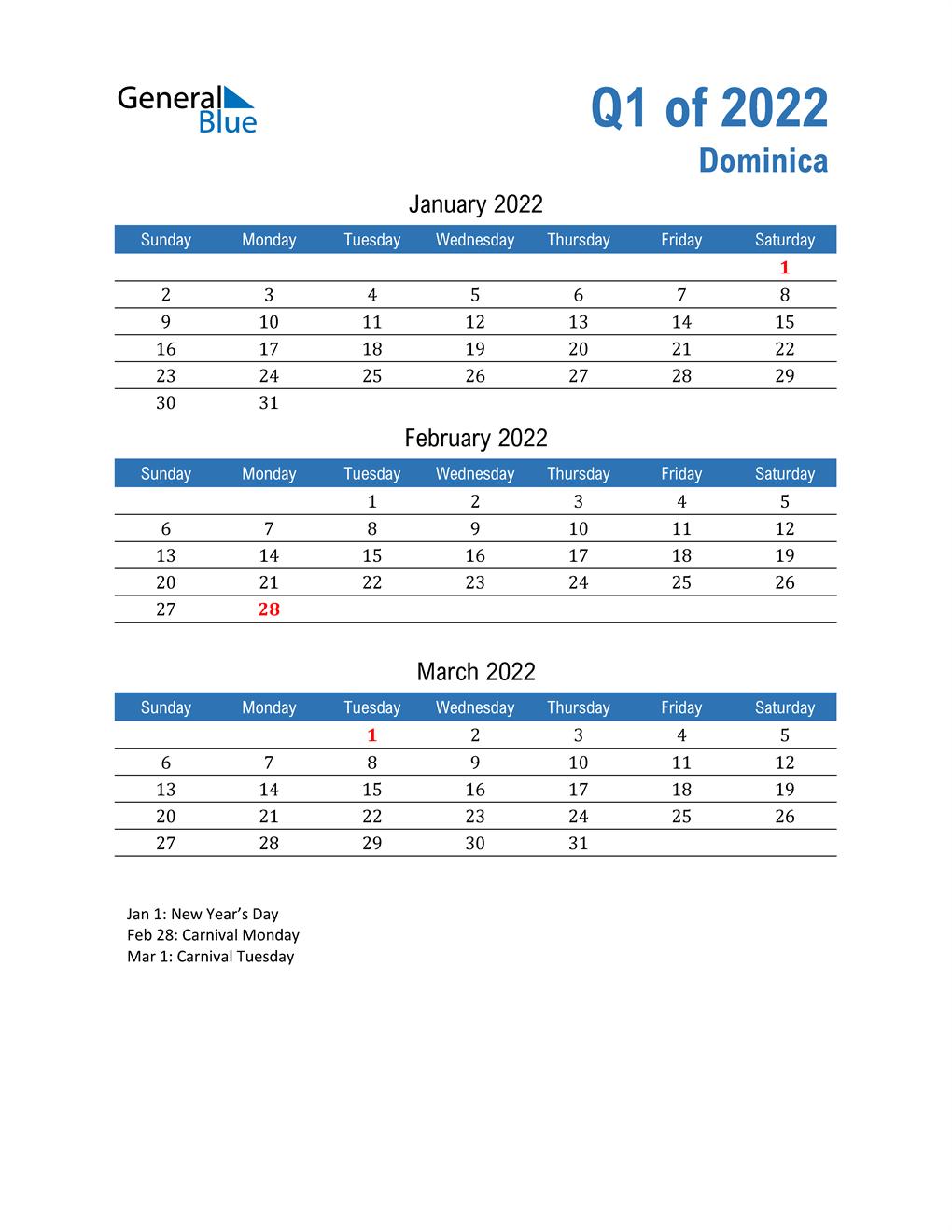 Dominica 2022 Quarterly Calendar