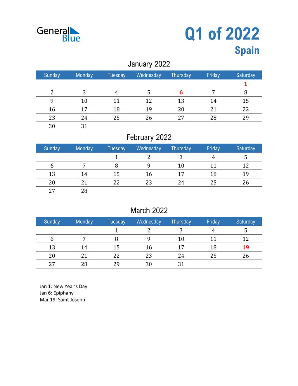 Spain 2022 Quarterly Calendar