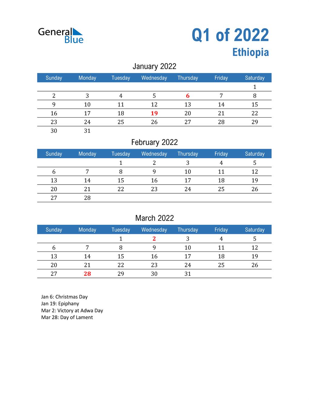 Ethiopia 2022 Quarterly Calendar
