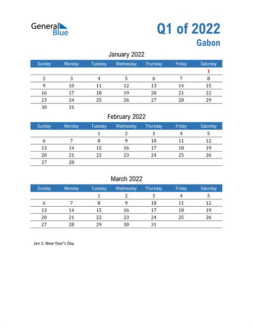 Gabon 2022 Quarterly Calendar
