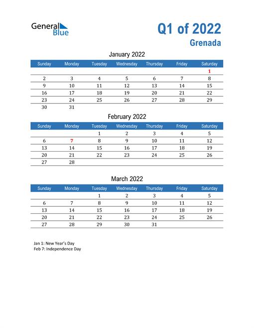 Grenada 2022 Quarterly Calendar