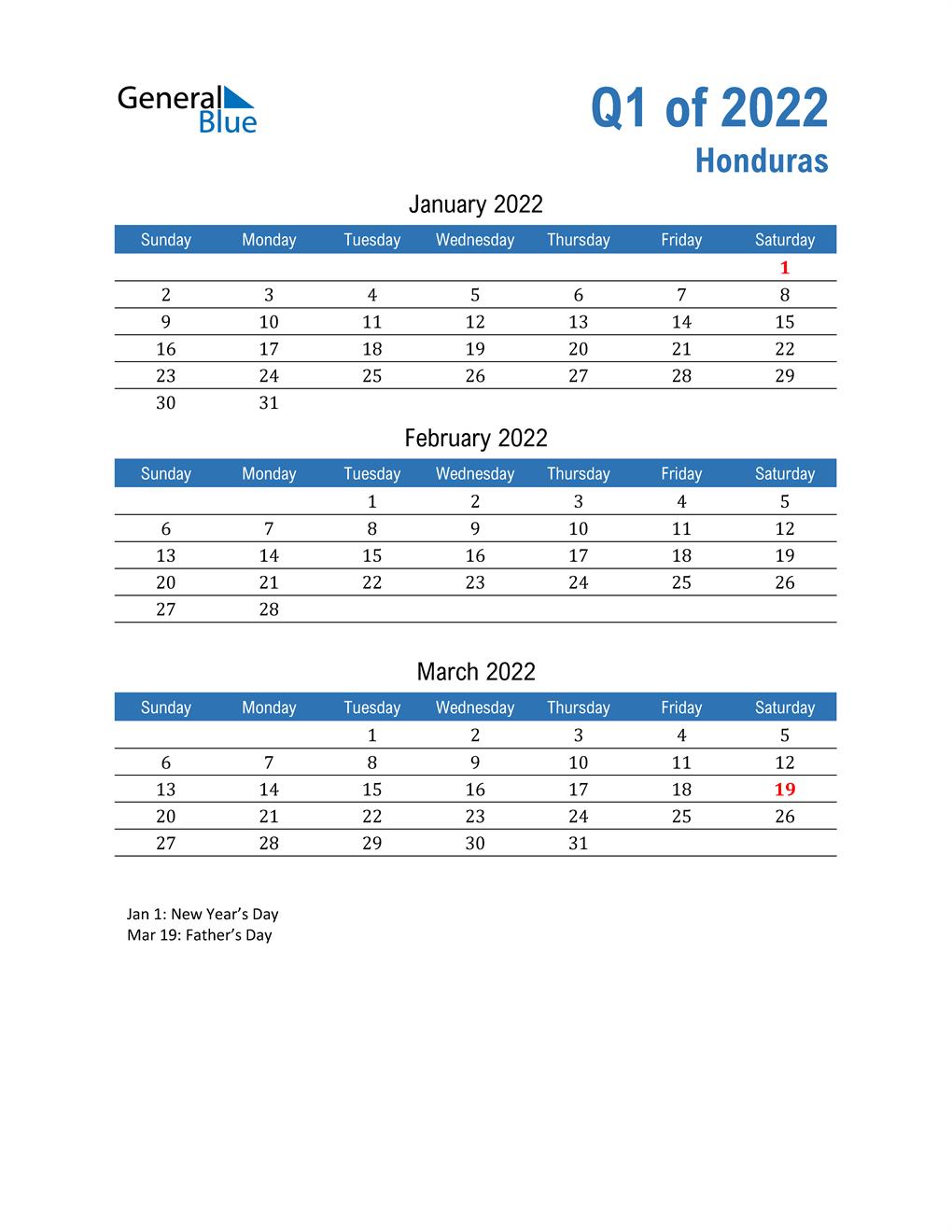 Honduras 2022 Quarterly Calendar