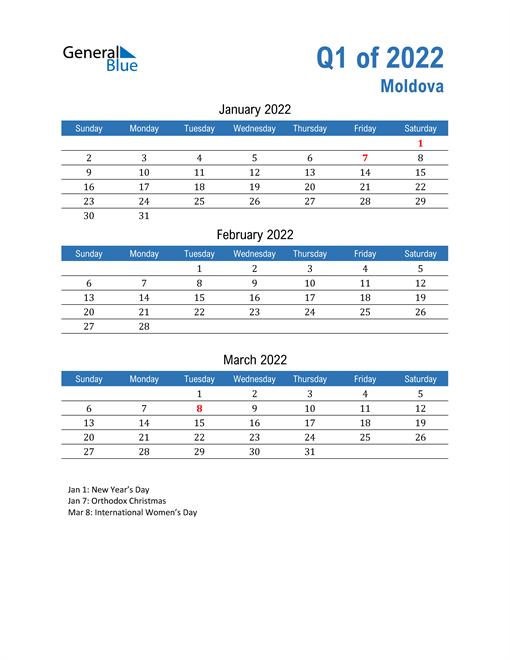 Moldova 2022 Quarterly Calendar