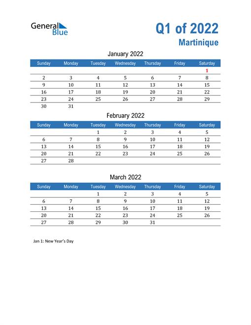 Martinique 2022 Quarterly Calendar