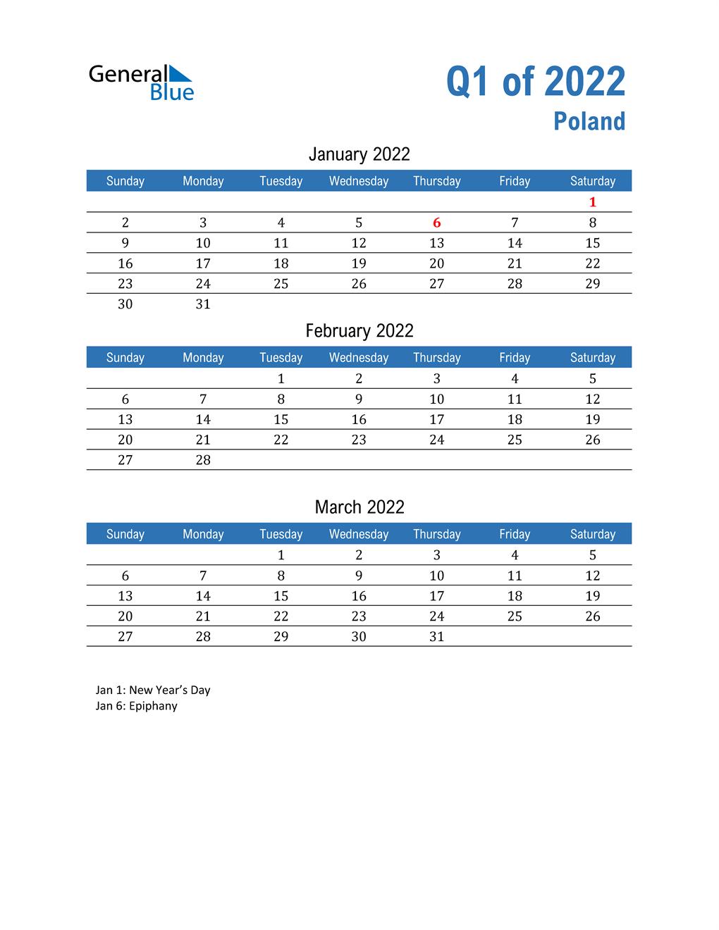 Poland 2022 Quarterly Calendar