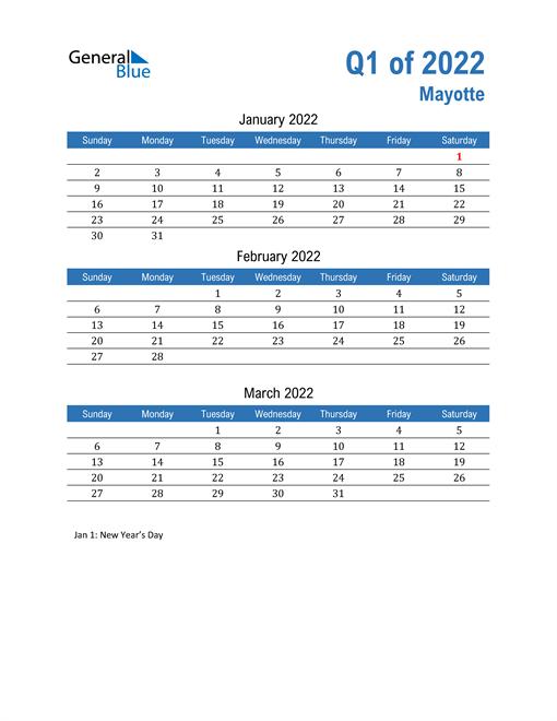 Mayotte 2022 Quarterly Calendar