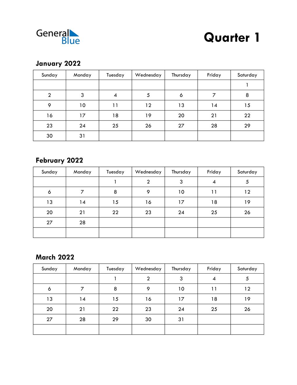 Quarter 1 2022 Calendar