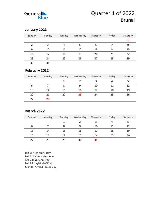 2022 Three-Month Calendar for Brunei
