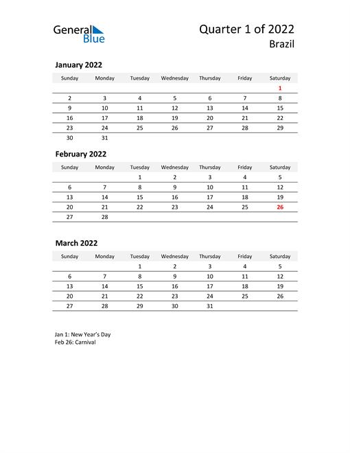 2022 Three-Month Calendar for Brazil