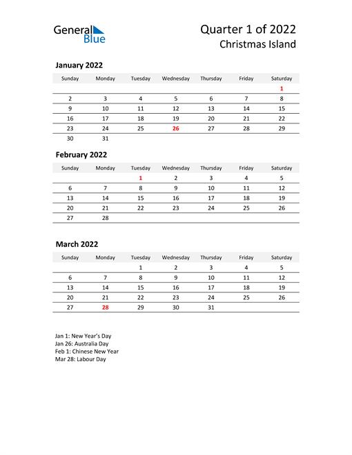 2022 Three-Month Calendar for Christmas Island