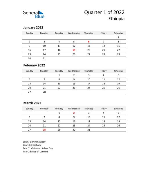 2022 Three-Month Calendar for Ethiopia