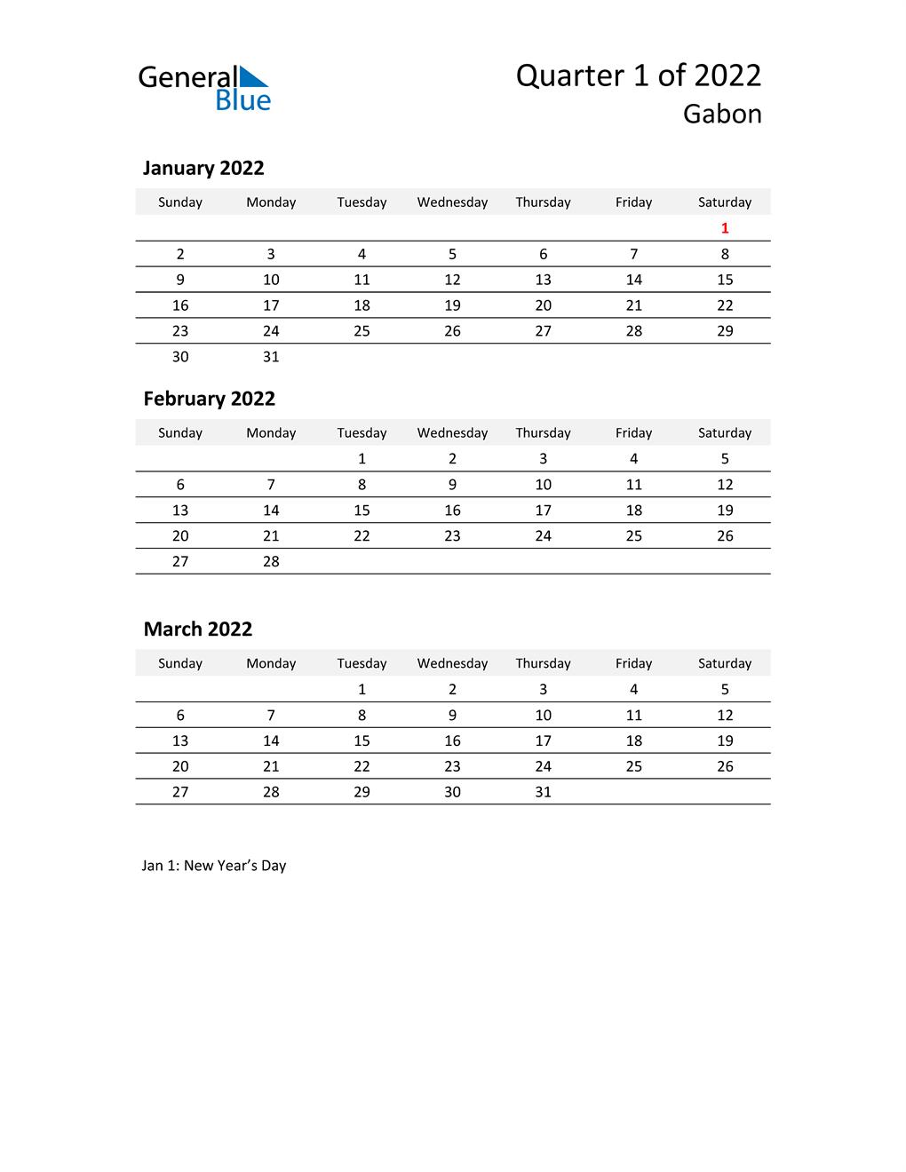 2022 Three-Month Calendar for Gabon