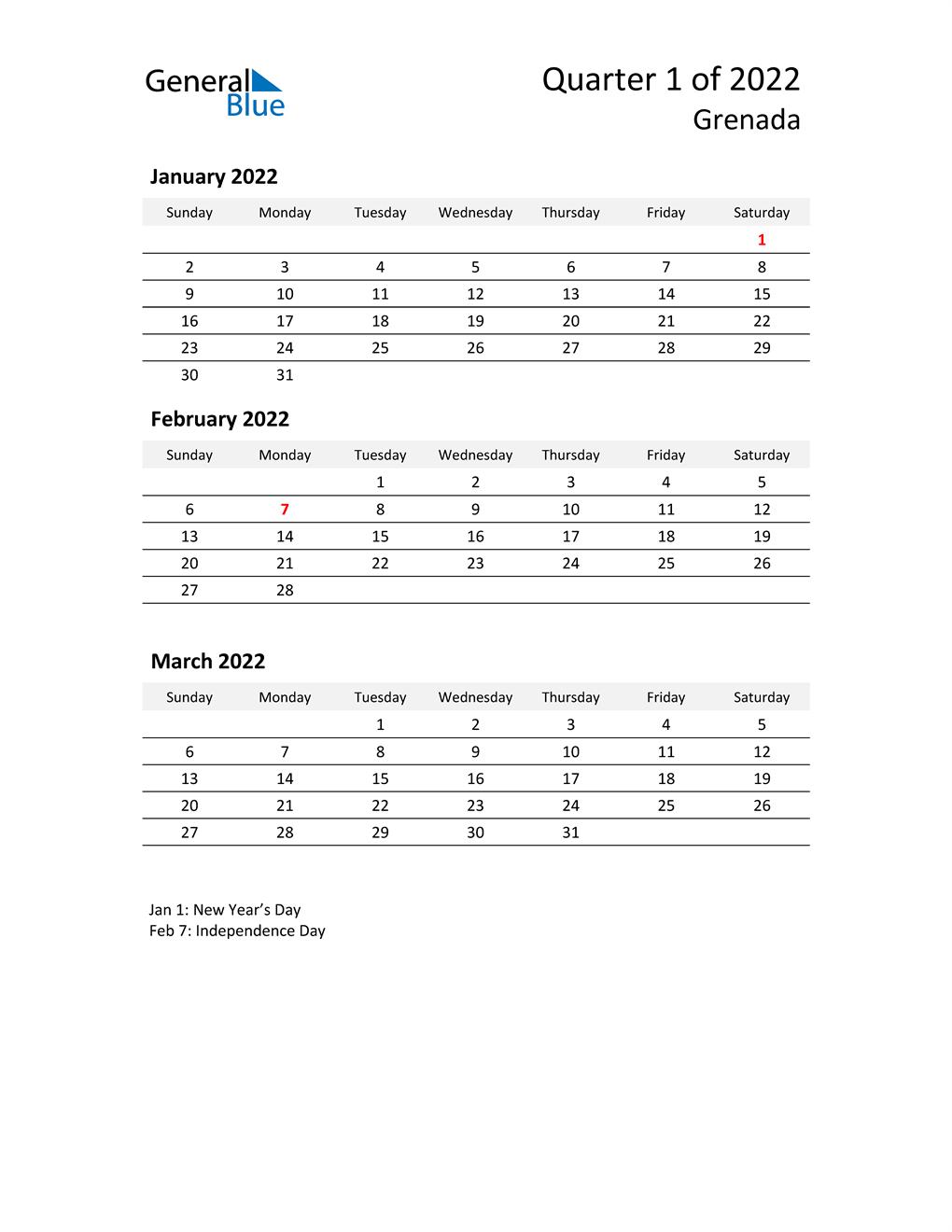 2022 Three-Month Calendar for Grenada