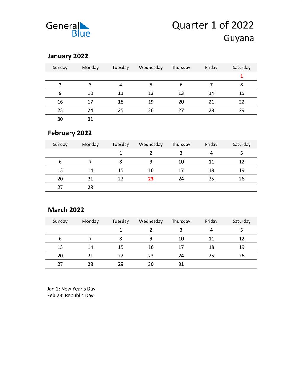 2022 Three-Month Calendar for Guyana
