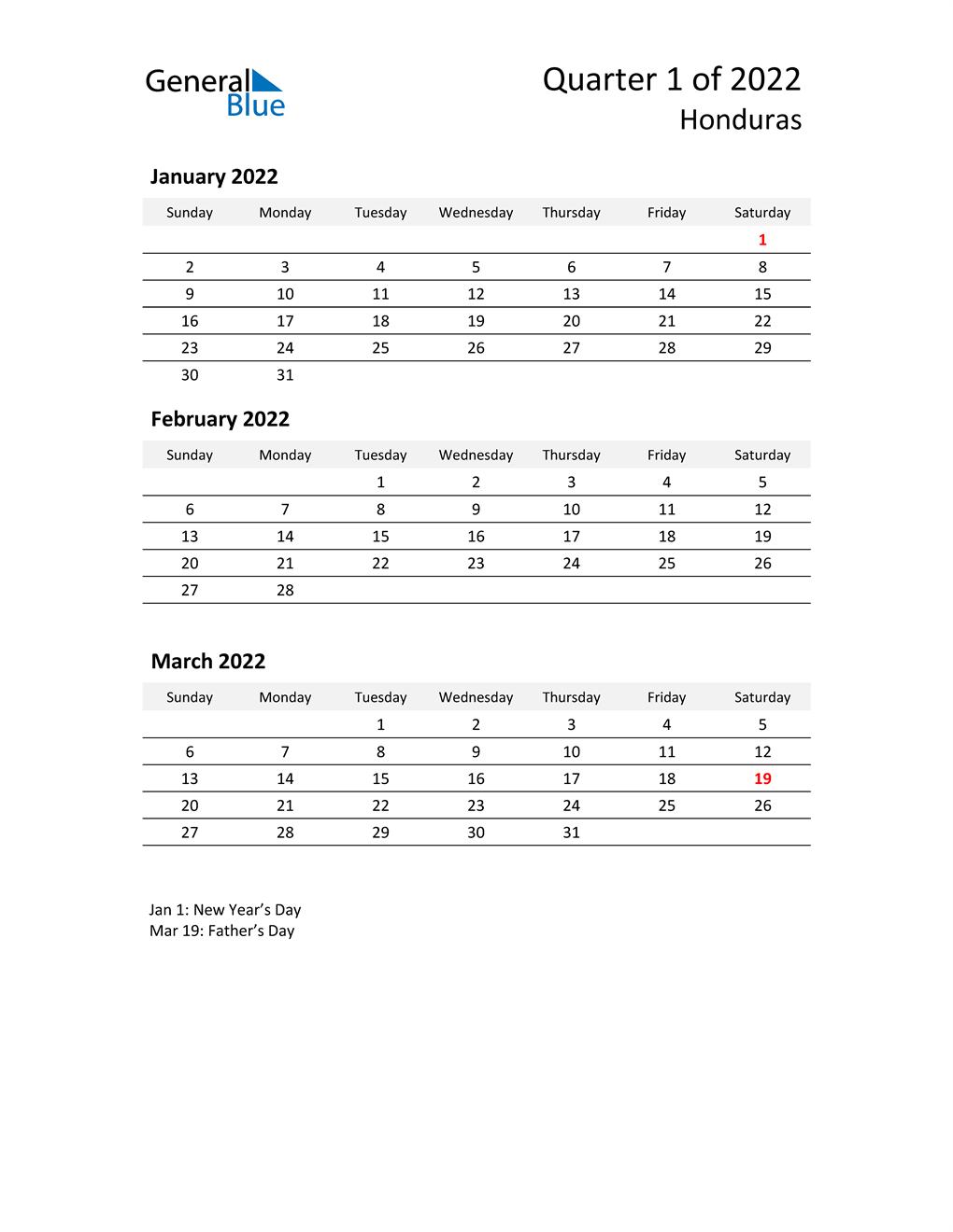 2022 Three-Month Calendar for Honduras