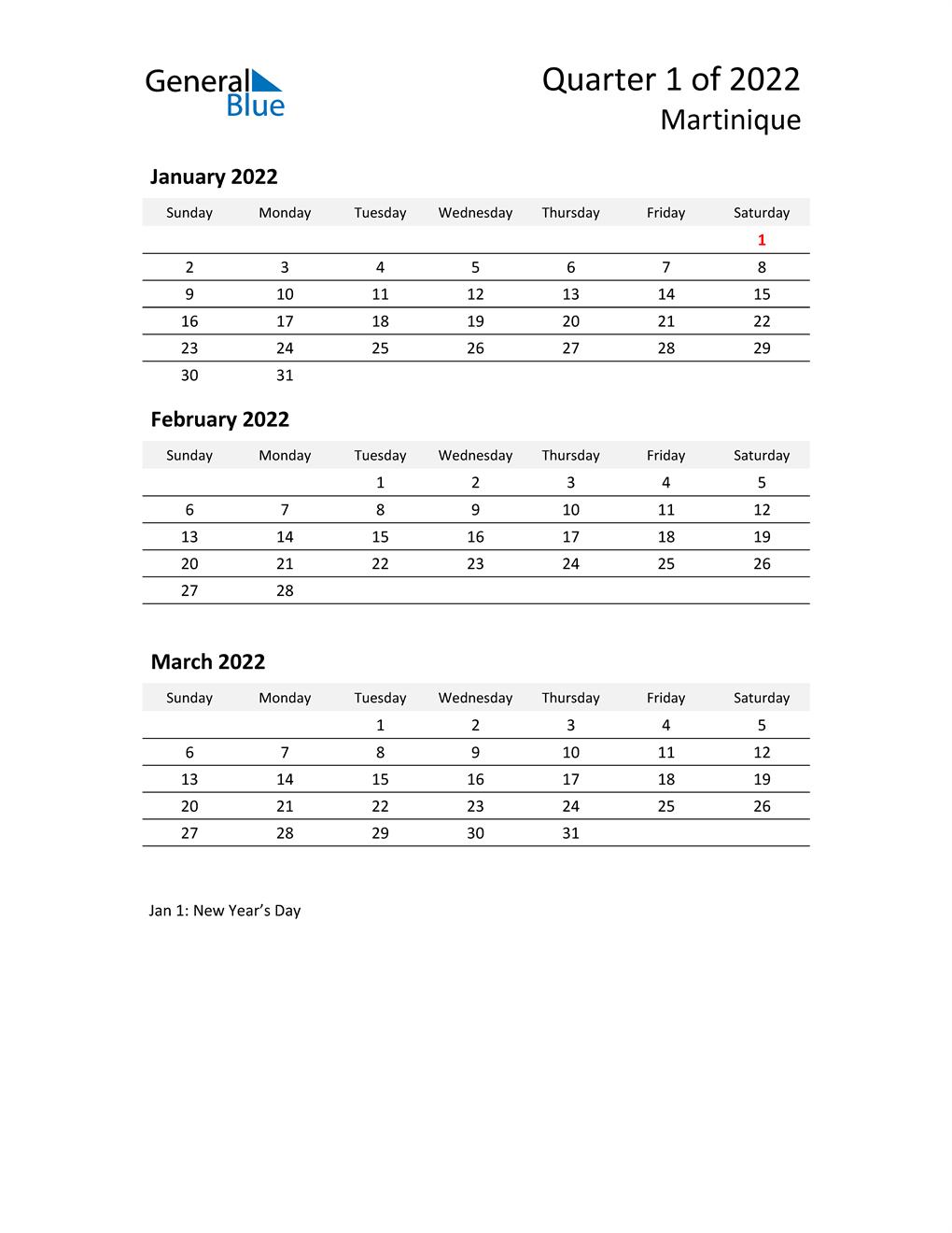2022 Three-Month Calendar for Martinique