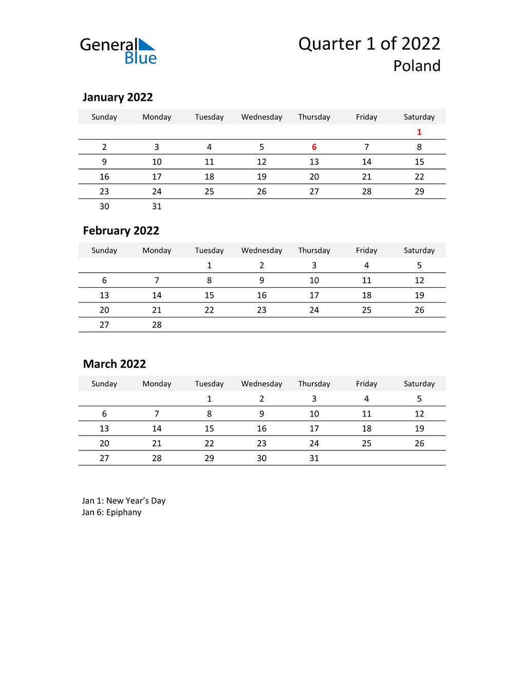2022 Three-Month Calendar for Poland