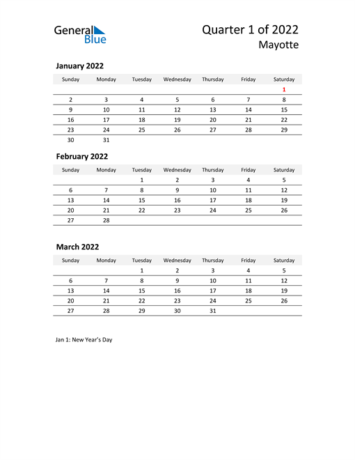 2022 Three-Month Calendar for Mayotte