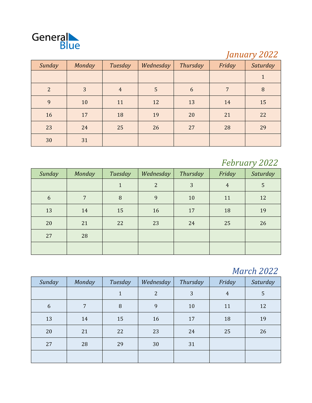 Three-Month Calendar for Year 2022
