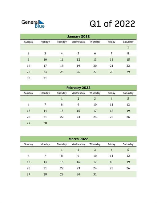 Printable Quarterly Calendar (Q1 2022)