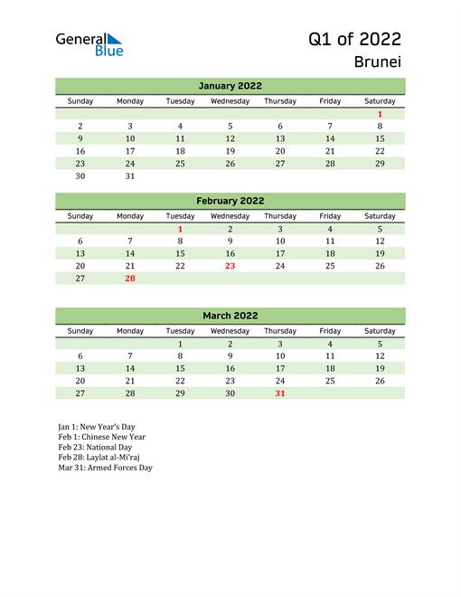 Quarterly Calendar 2022 with Brunei Holidays