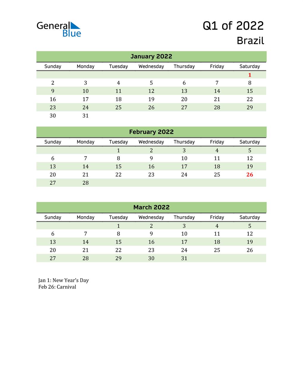 Quarterly Calendar 2022 with Brazil Holidays