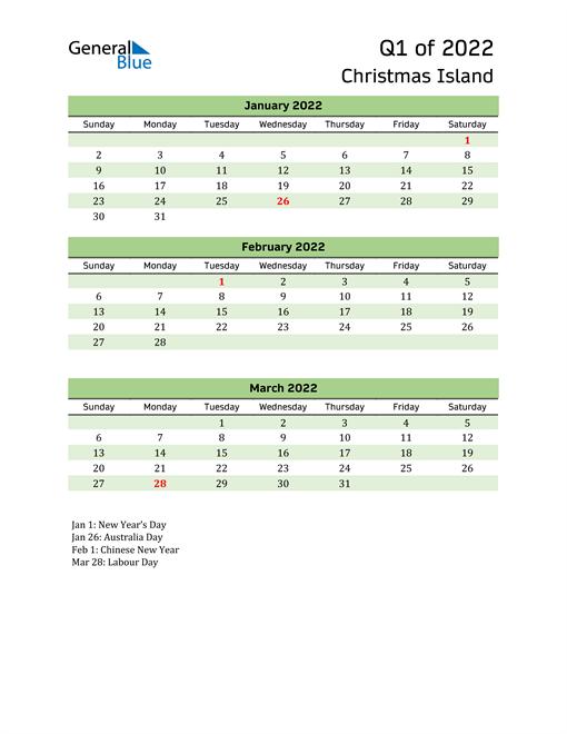 Quarterly Calendar 2022 with Christmas Island Holidays