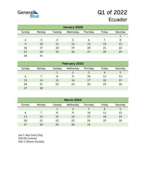 Quarterly Calendar 2022 with Ecuador Holidays