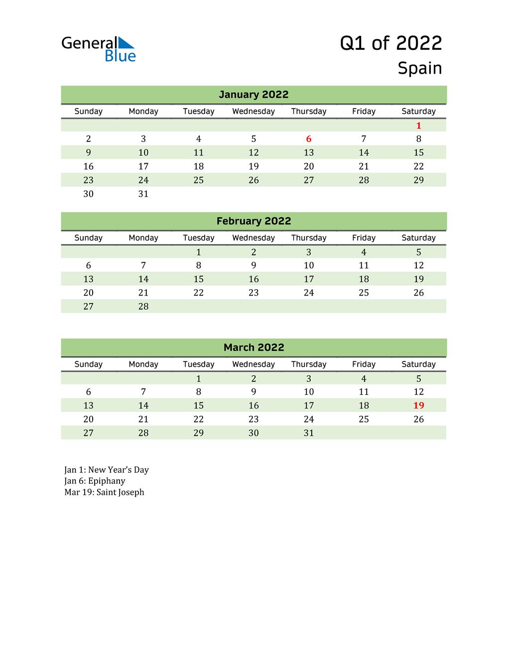 Quarterly Calendar 2022 with Spain Holidays