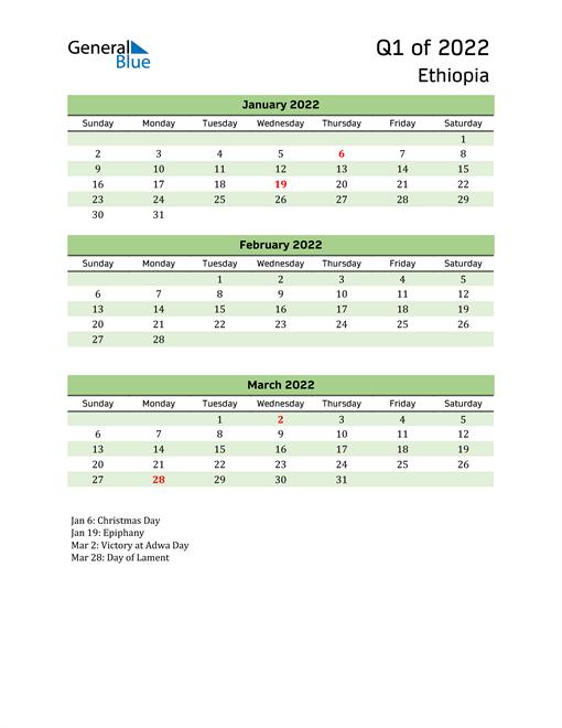 Quarterly Calendar 2022 with Ethiopia Holidays