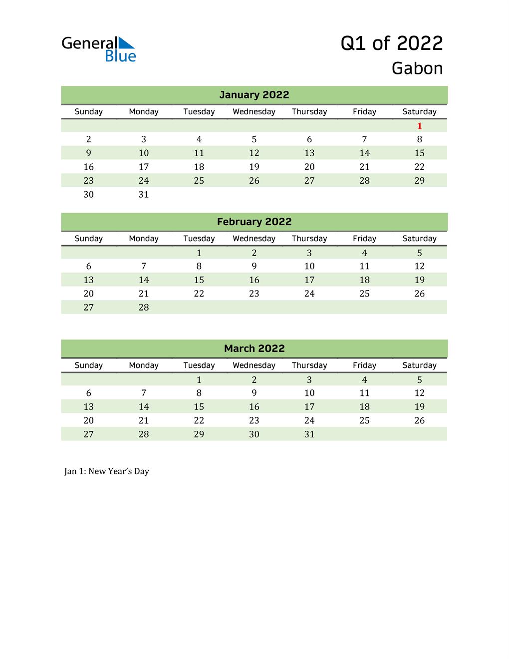 Quarterly Calendar 2022 with Gabon Holidays